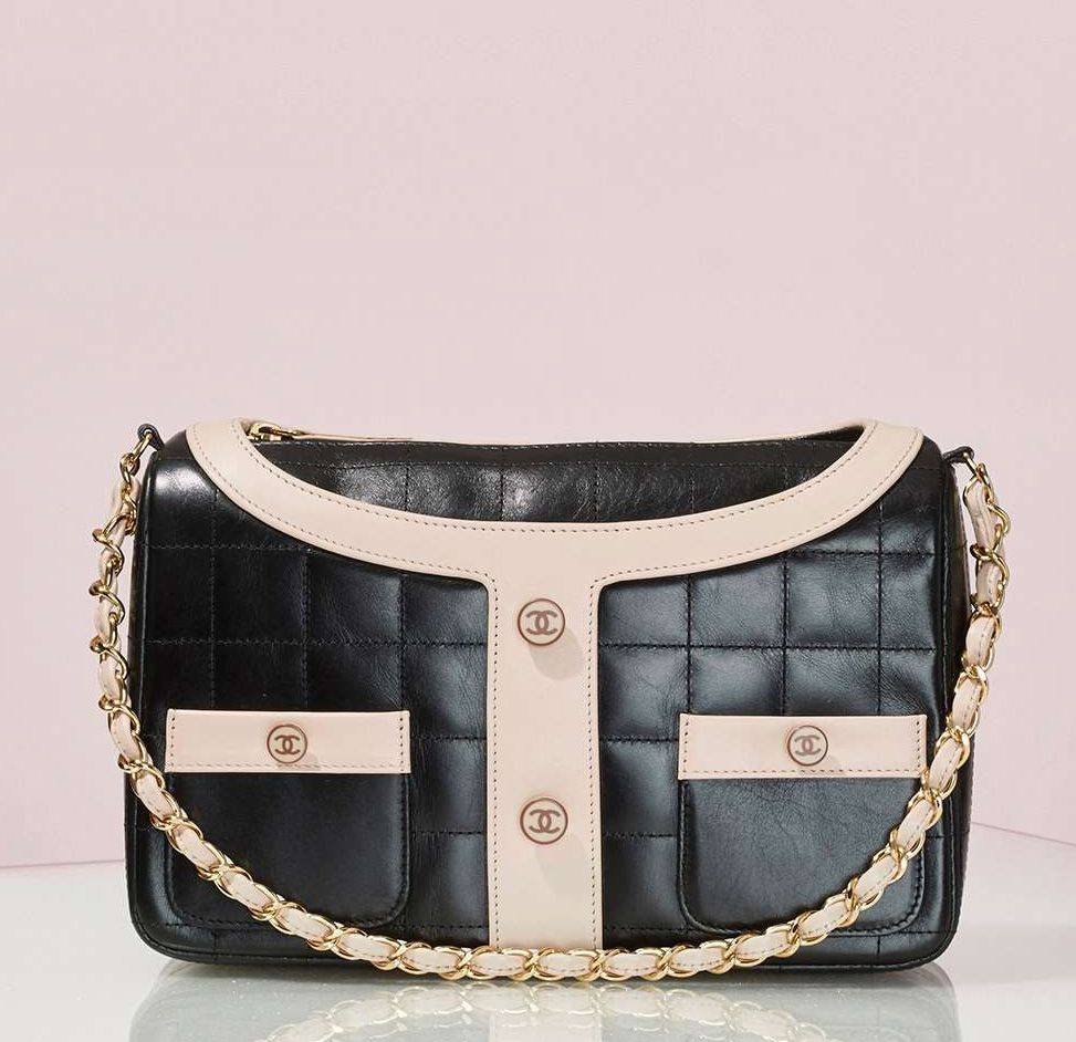 Vintage Chanel black leather Jacket bag available at NASTY GAL