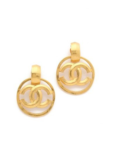 What Goes Around Comes Around Chanel Bevel CC Earrings (Previously Owned)