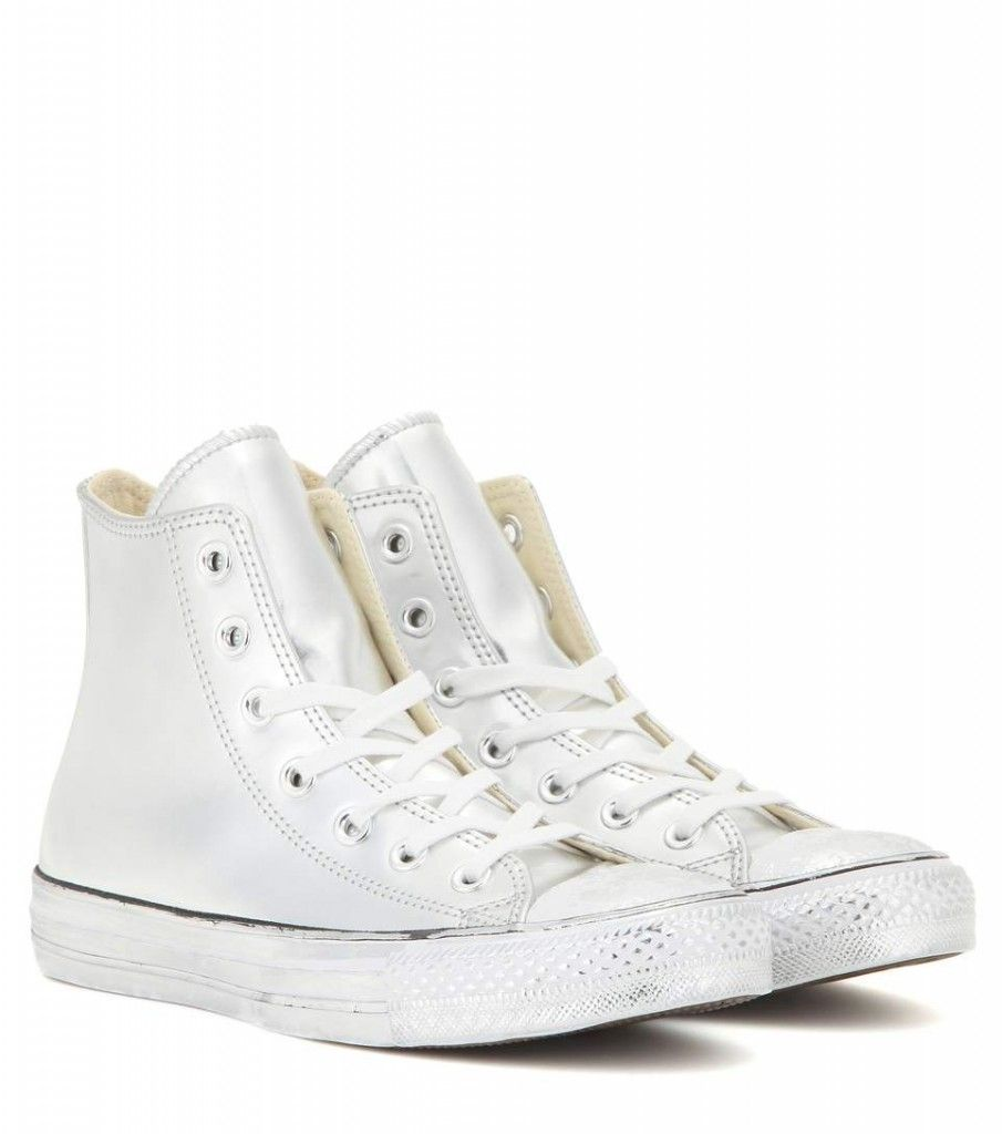 Converse Chuck Taylor silver-tone chrome high-top sneakers