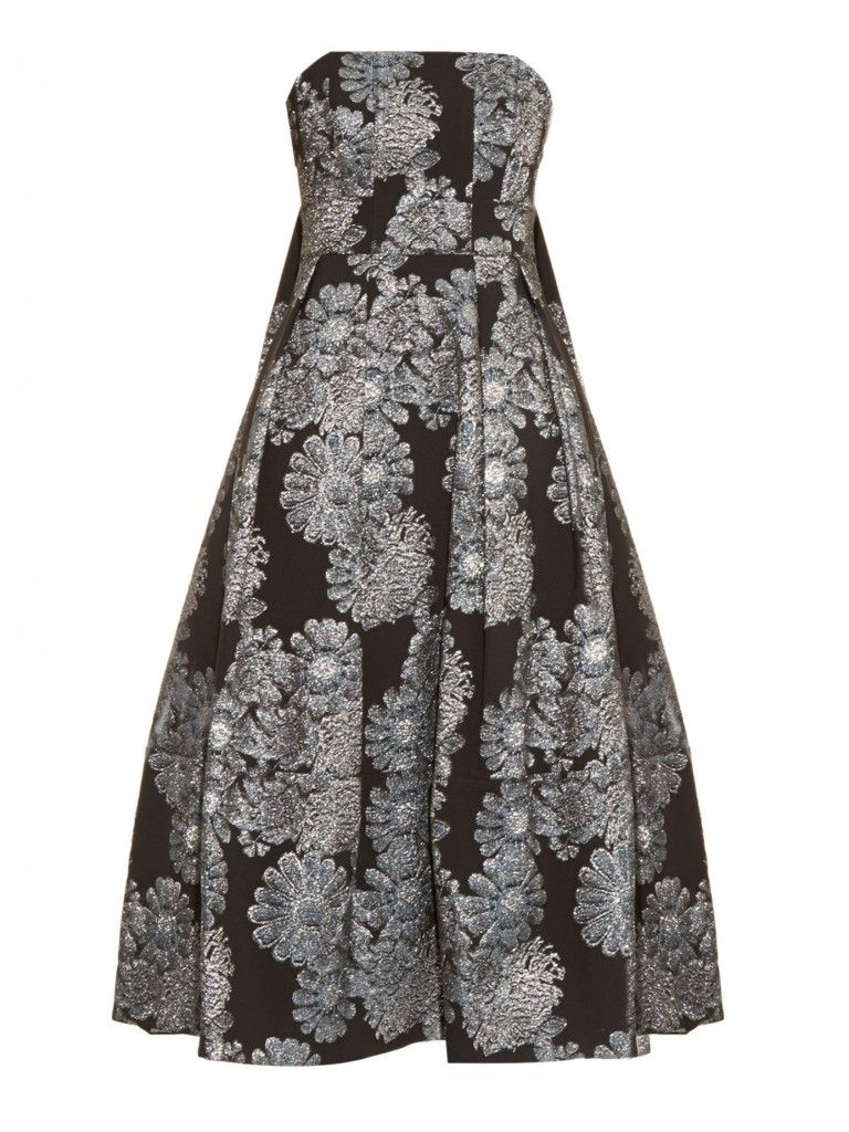 Erdem Alina metallic jacquard strapless dress is vilble at MATCHESFSHION.com