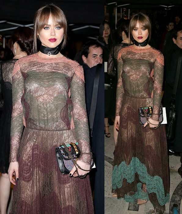 Kristina Bazan in hed to toe Valentino