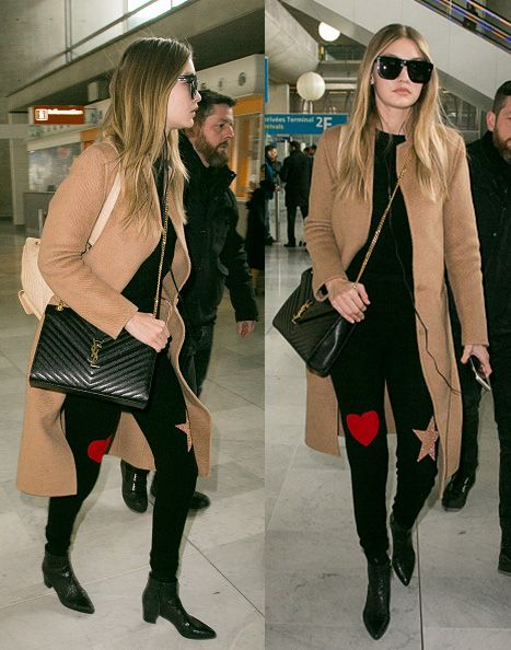 Gigi Hadid carrying a Saint Laurent  Monogram Matelasse Shoulder Bag, Black