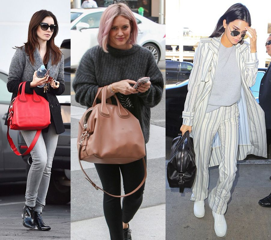 Lily Collins, Hilary Duff and Kendall Jenner crrying Givenchy's Nightingale bg