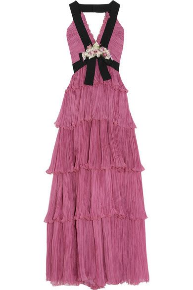 Gucci Resort 2016 rose plissé silk-chiffon gown available at NET-A-PORTER