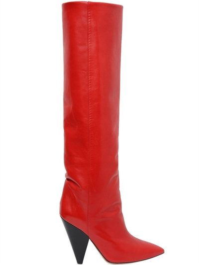 Laith red leather over-the-knee boots available at LUISAVIAROMA.com