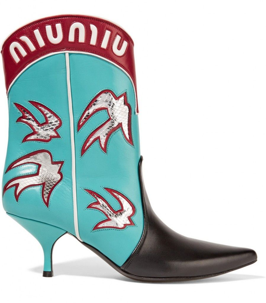 Miu Miu Ayers-appliquéd turquoise leather cowboy boots available at NET-A-PORTER