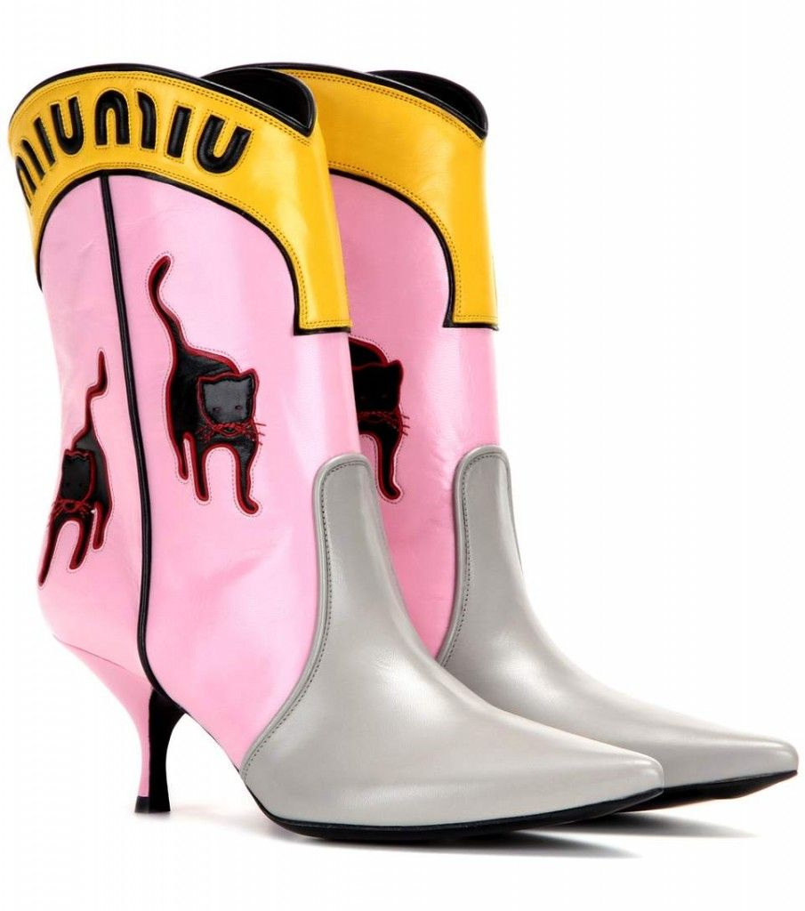 Miu Miu pink leather cowboy boots with kitty motif available at MYTHERES.com