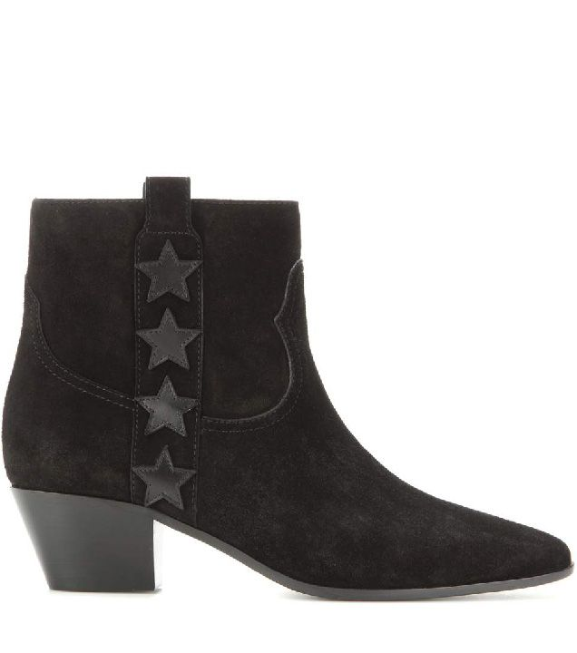 Saint Laurent black suede ankle boots with stars available at MYTHERESA.com