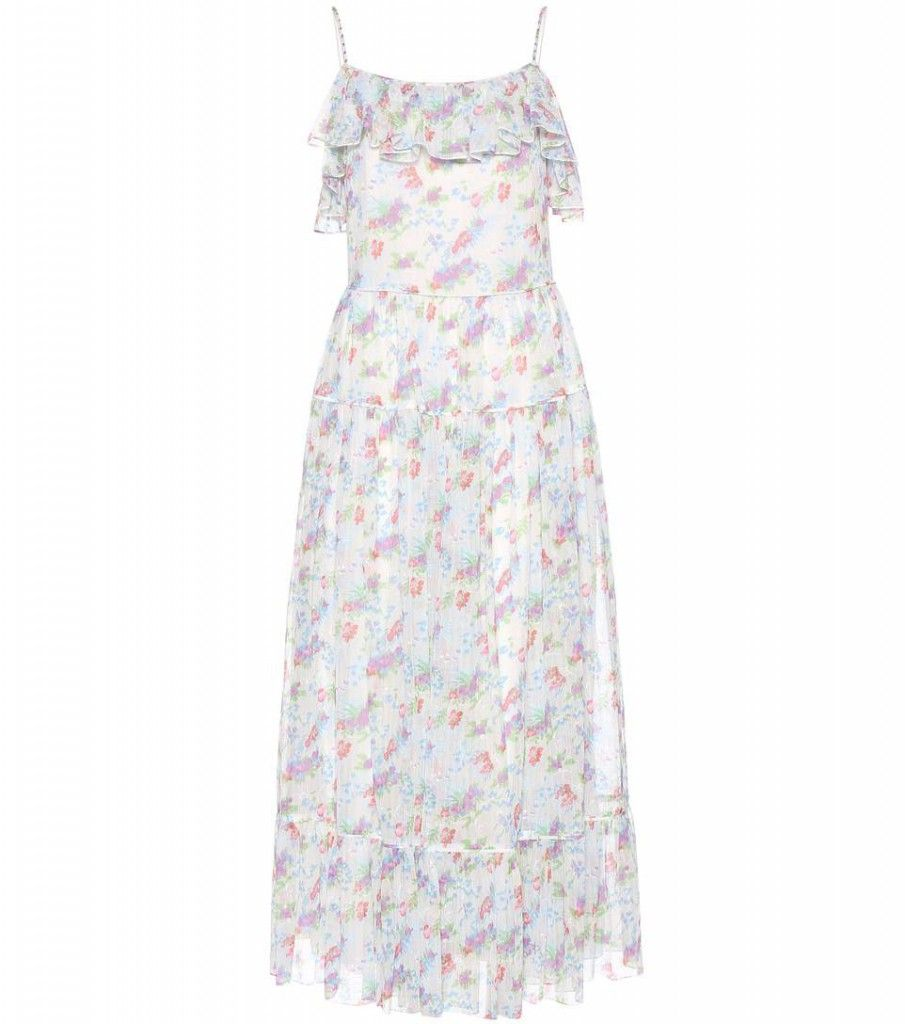Similar dress: Saint Laurent silk dress with printed florals, spaguetti straps and off-the-shoulder frills available at MYTHERESA.com