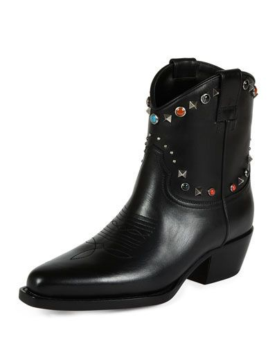 Valentino Rockstud black leather cowboy ankle boot vailable t BERGDORF GOODMAN