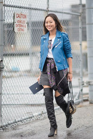 Aimee Song's electric blue iconic moto jacket is available at COACH.com