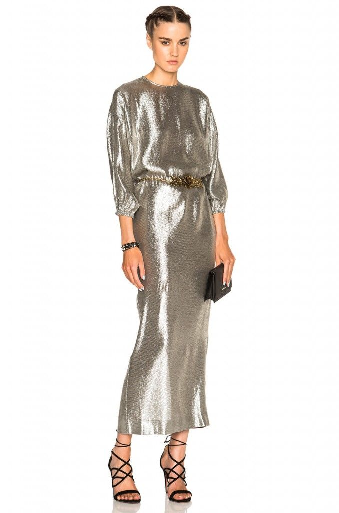 Alessandr Rich silk-blend silver lamé dress available at NET--PORTER