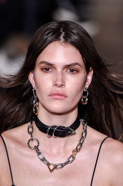 Alexander Wang FW16 jewelry collection: chain-link rhodium earrings and leather-and-rhodium chokers.