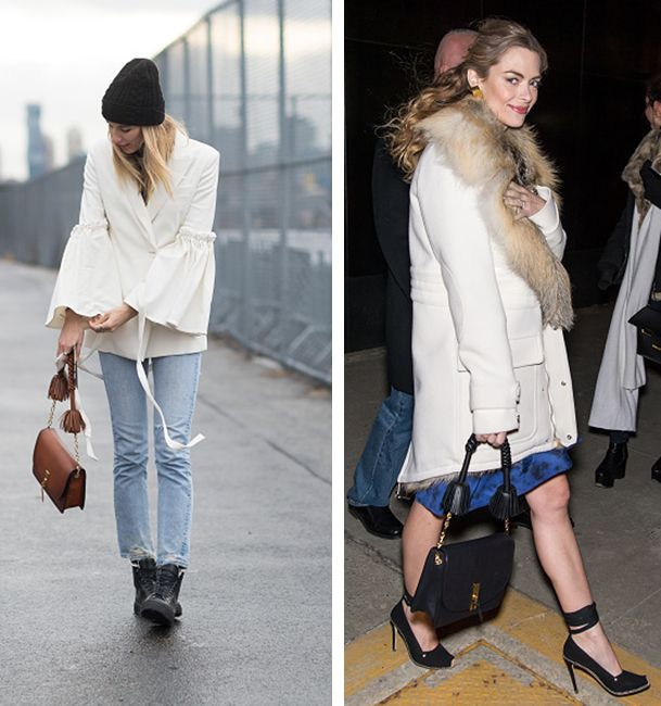 Veronika Heilbrunner and Jaime King during New York Fashion Week Fall 2016, both carrying an Altazurra Ghiand bag!