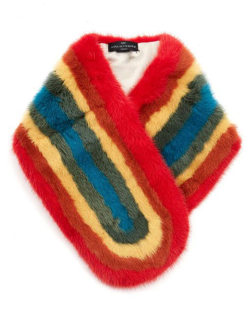 Anya Hindmarch rainbow mink fur scarf available at MATCHESFSHION.com