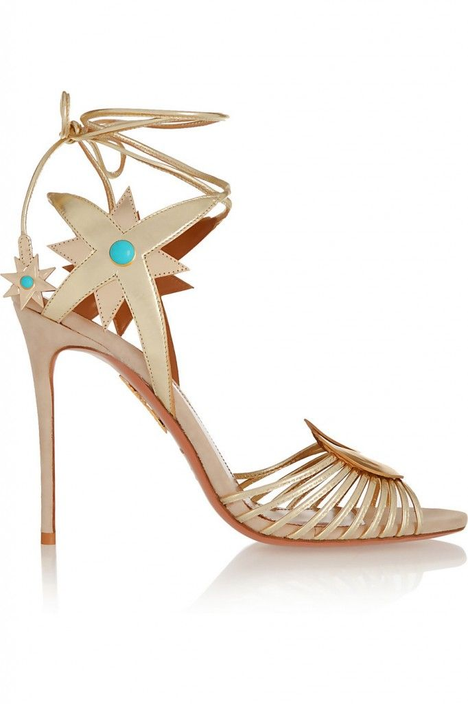 Aquazzura + Poppy Delevingne Midnight gold metallic leather sandals available at NET-A-PORTER
