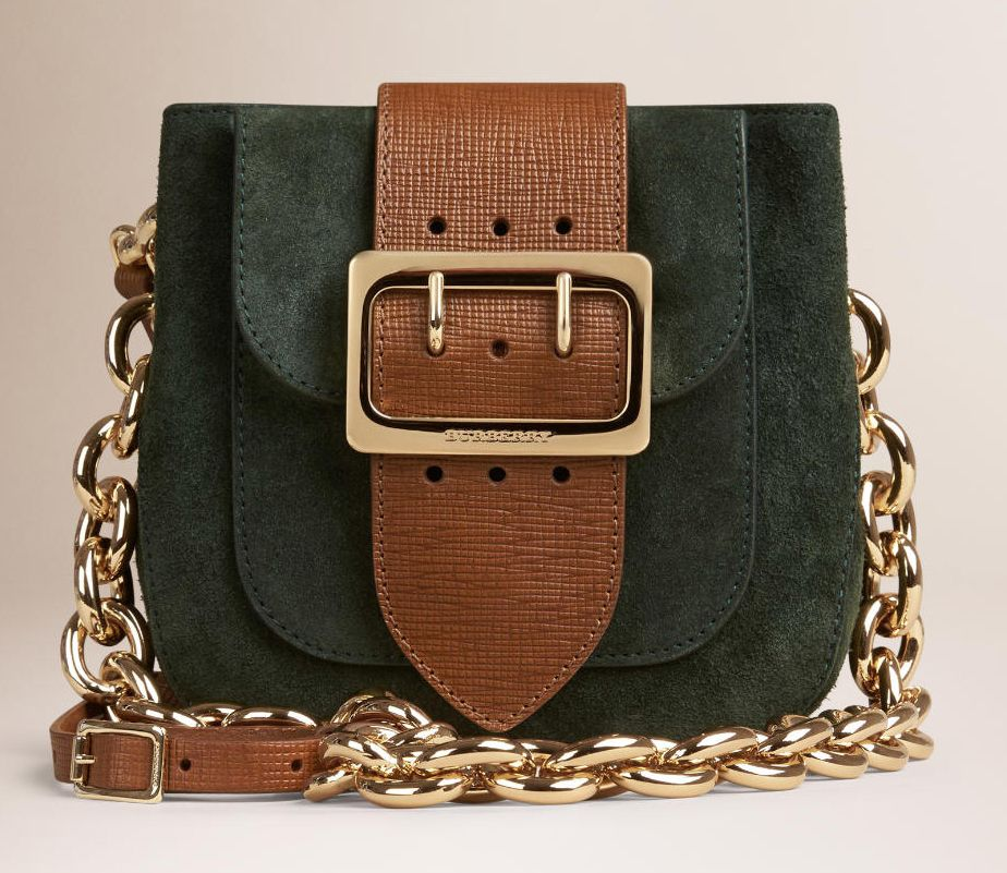 Burberry Belt Bag Square in suede and textured-leather bag available at BURBERRY.com