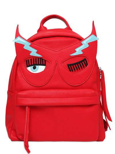 Chiara's flirting masck red fux leather backpck, available at LUISAVIAROMA.com