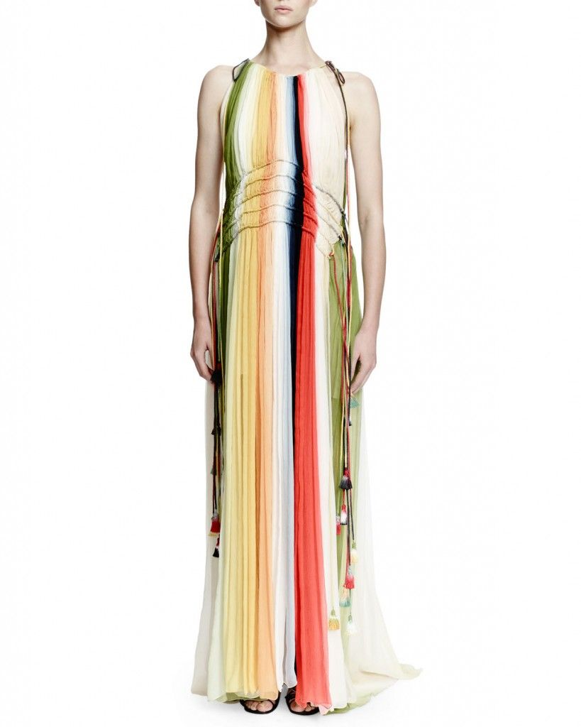 Chloé rainbow silk chiffon gown with halter neck and tassels available at NEIMAN MARCUS