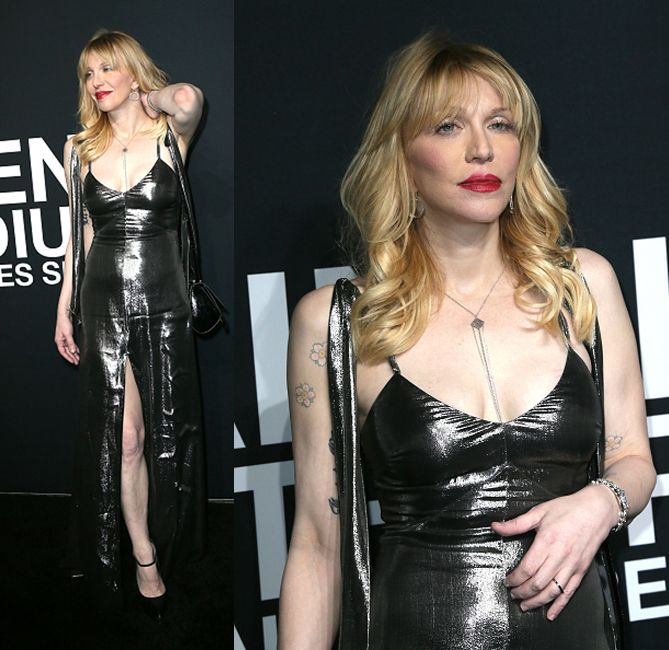 Her majesty Courtney Love wearing a sleeveless silver lamé gown available at BERGDORF GOODMAN