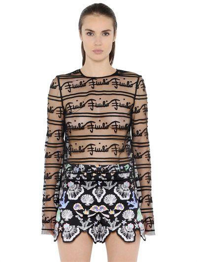 * SS16 Emilio Pucci logo embroidered sheer tulle top available at LUISAVIROMA.com