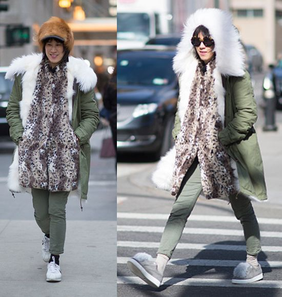 Eva Chen wearing a fur lined parka.