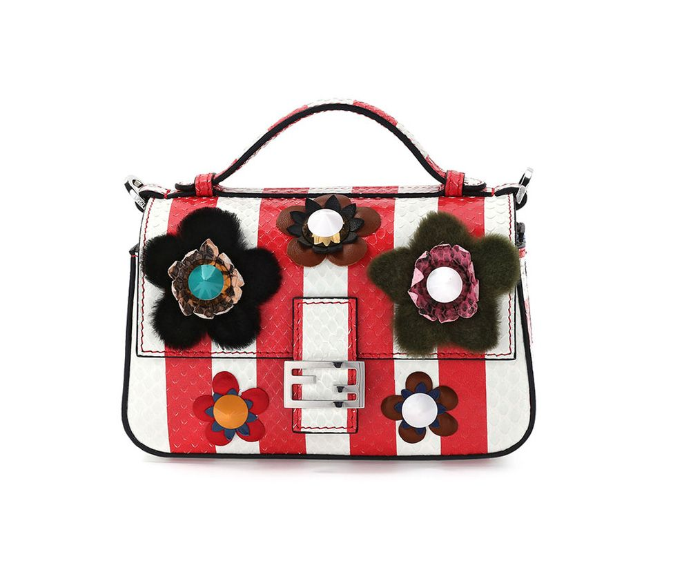 Fendi double compartment red and white micro snakeskin shoulder bag with flower appliqués available at NEIMAN MARCUS