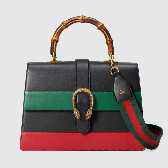 This Gucci Dionysus multicolor leather bag with bamboo top handle and interchangeable straps is available at GUCCI.com