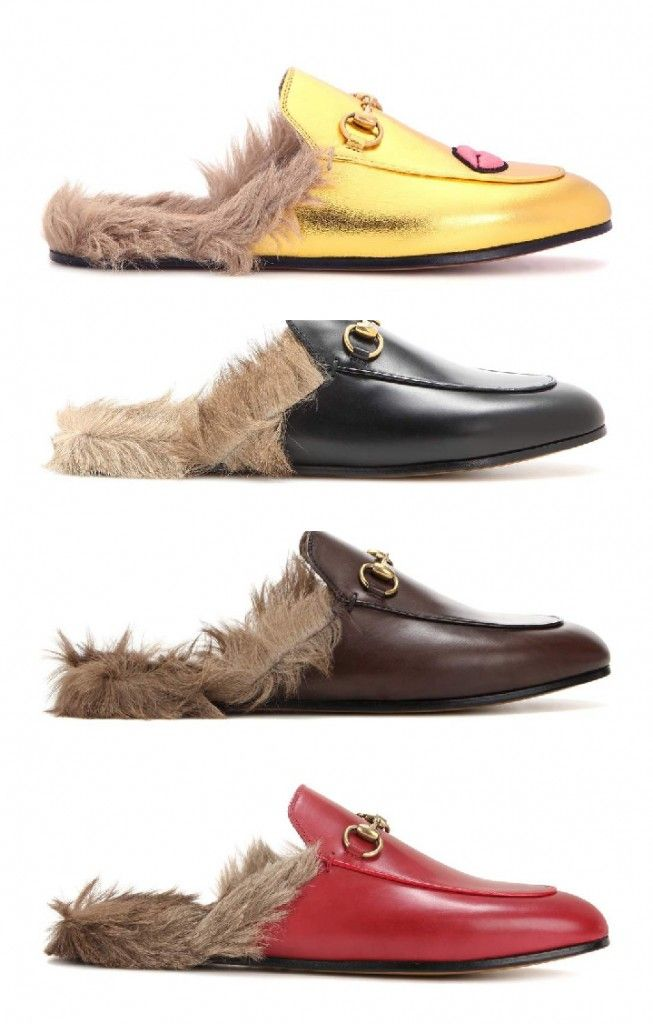 Gucci Princetown fur-lined metllic leather slippers available at MYTHERESA.com