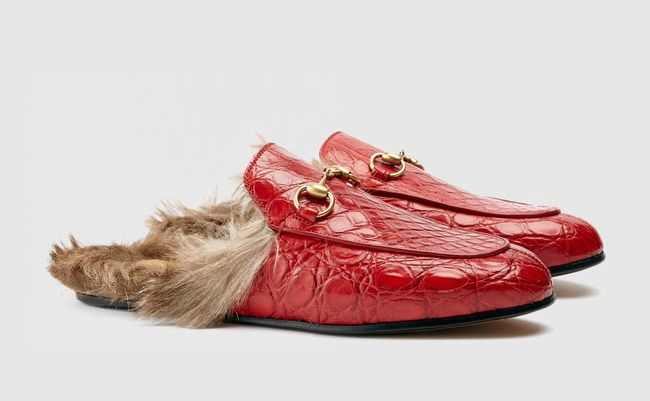 Gucci Princetown fur-lined red crocodile slipper available at GUCCI.com
