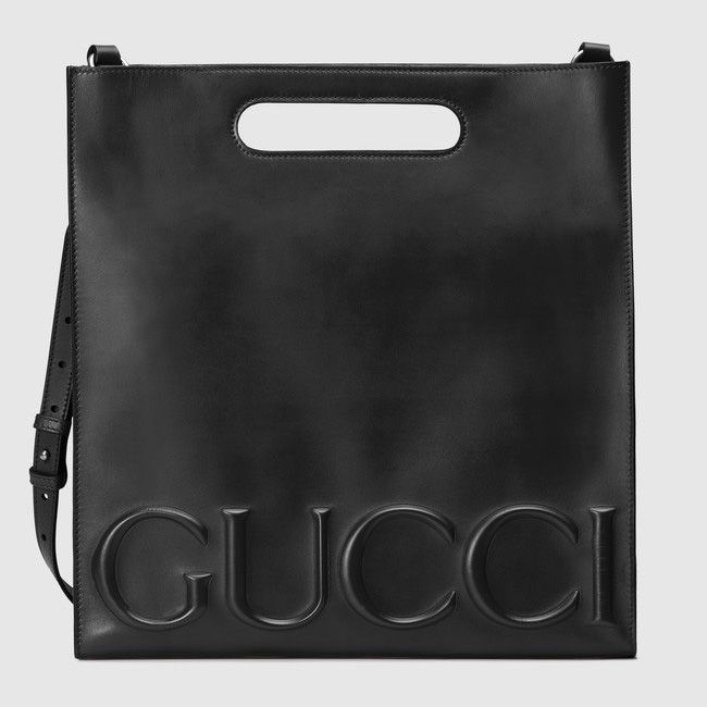 The orgininal Gucci XL black leather tote is available at GUCCI.com