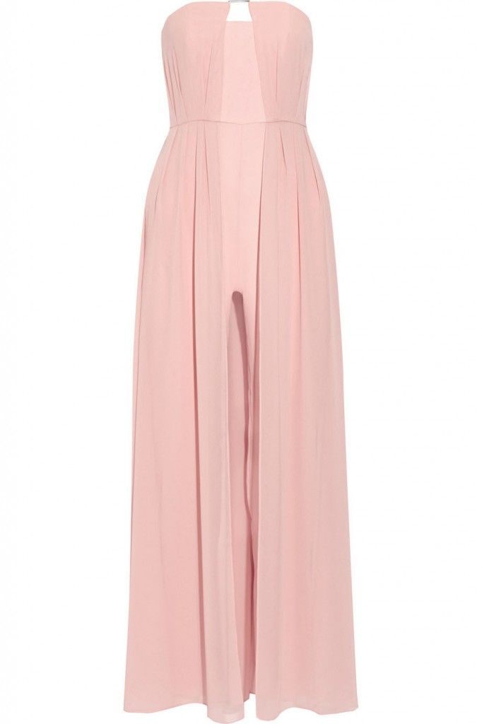 Halston Heritage baby pink strapless jumpsuit available at NET-A-PORTER