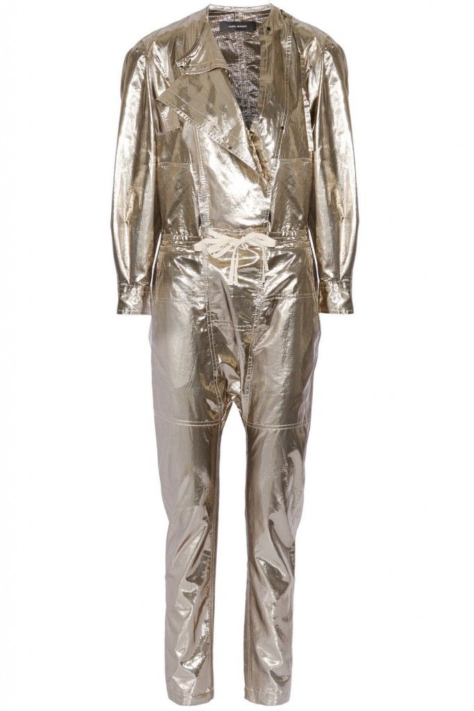 Isabel Marant Nubi gold silk-blend lamé jumpsuit available at NET-A-PORTER