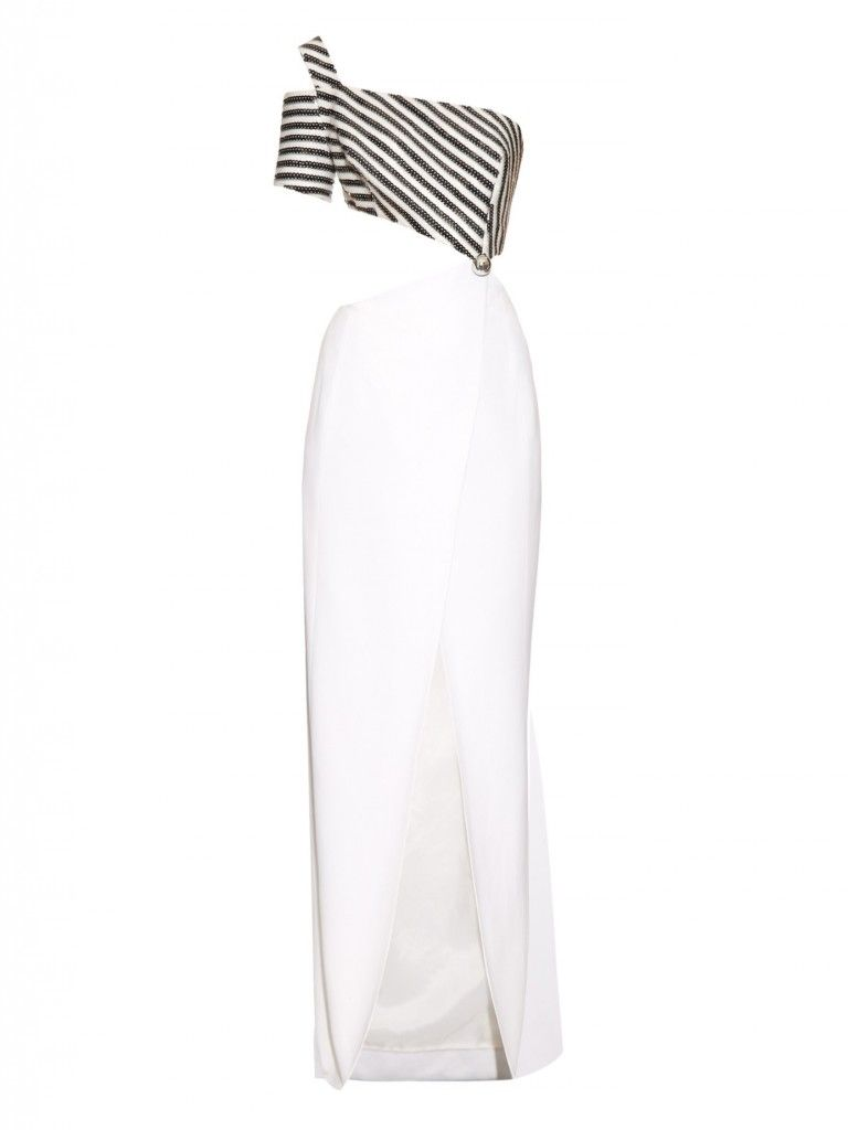 Gala's sequined asymmetric-neckline white crepe gown is available at MATCHESFASHION.com