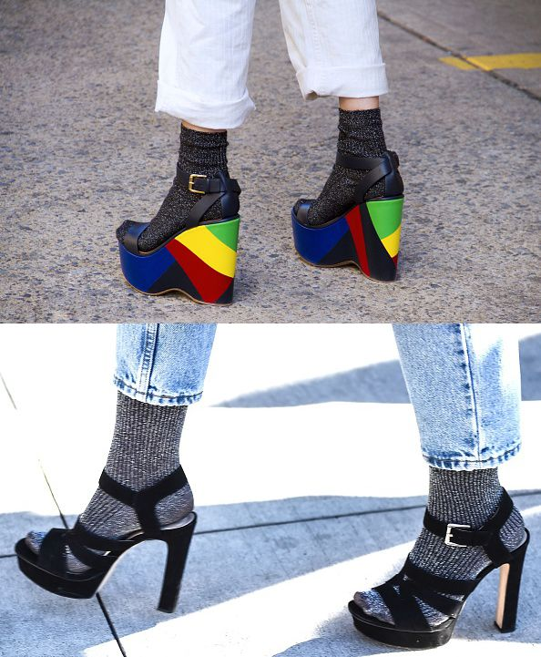 Wool-blend ribbed socks with sandals out in the streets of New York during Fashion Week Fall 2016!