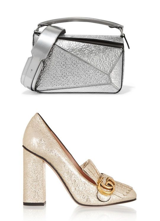 Pernille's Loewe Puzzle embossed silver metallic leather shoulder bg is available at NET-A-PORTER