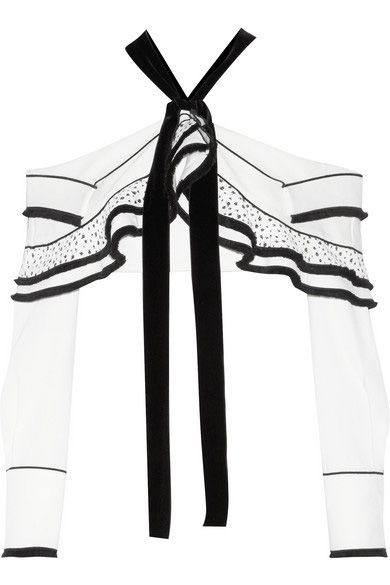 Proenza Schouler cropped and velvet trimmed black and white crepe and basketweave top available at NET-A-PORTER