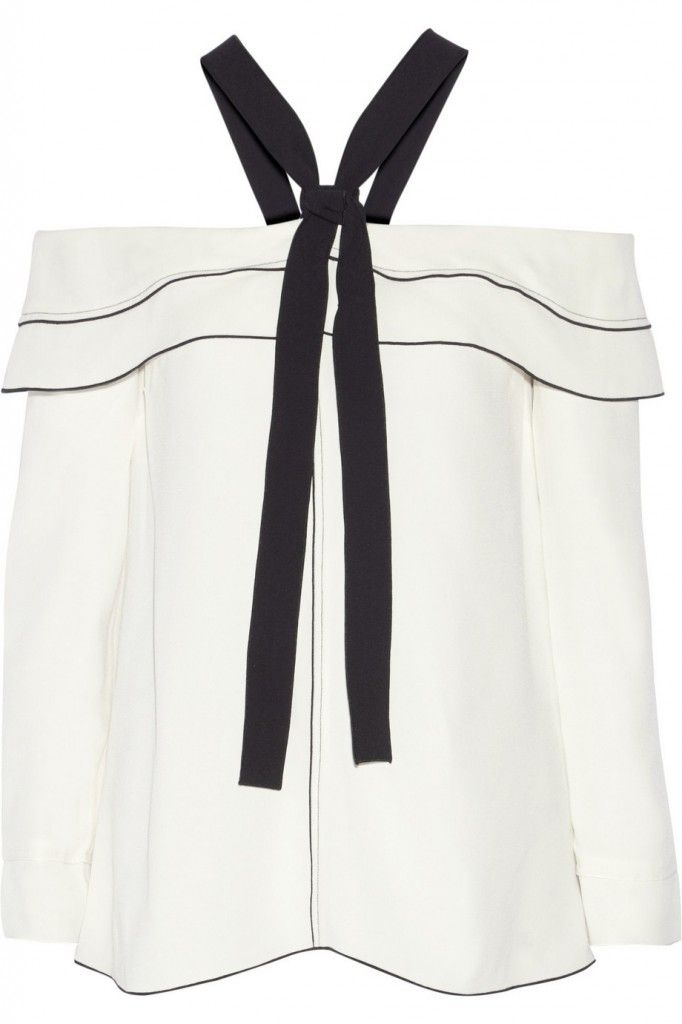 Proenza Schouler off-the.shoulder pussy bow cream and black crepe blouse available at NET-A-PORTER