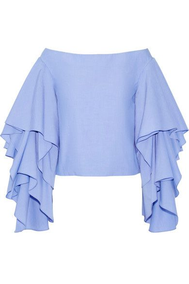 Rosie Assoulin Bidi Bidi Bom Bom off-the-shoulder cotton poplin ruffled top available t NET-A-PORTER