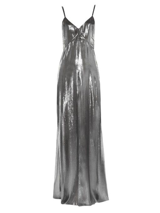 Saint Laurent drape back silver lamé gown availble at MATCHESFASHION.com