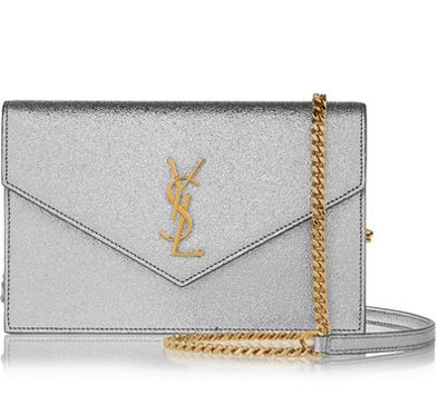 Saint Laurent Envelope small silver metallic textured-lether bag available at NET-A-PORTER