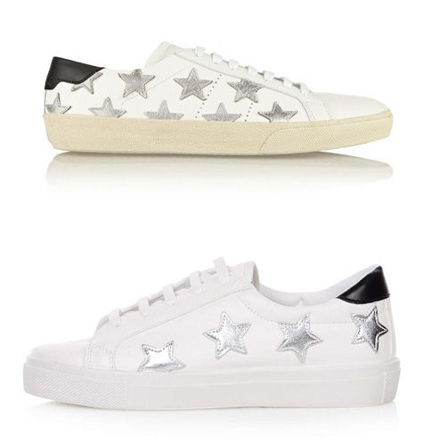 Saint Laurent silver star-appliquéd leather sneakers available t NET-A-PORTER