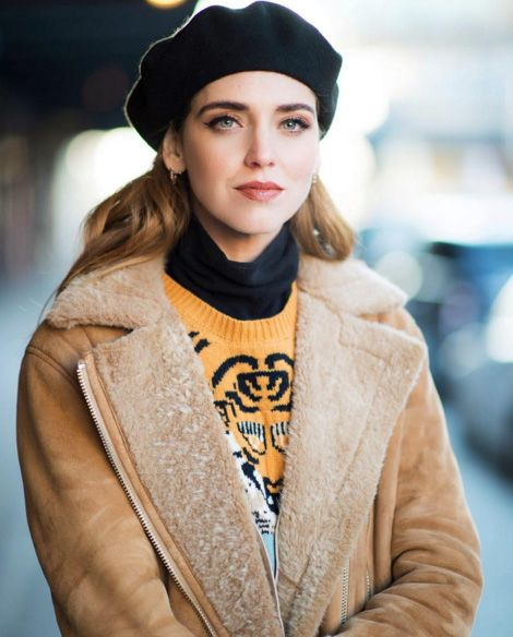 Chiara Ferragni wearing Acne Studios More Lamb shearling jacket available at FORWARD BY ELYSE WALKER