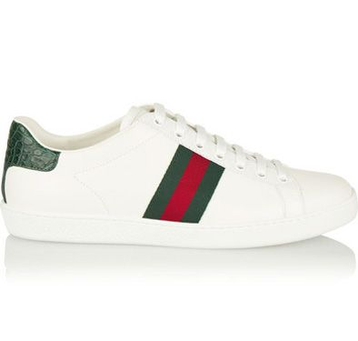 Gucci's New Ace low-top sneakers with signature green/red/green detail and green crocodile detail on the back, availble at GUCCI.com and NET-A-PORTER