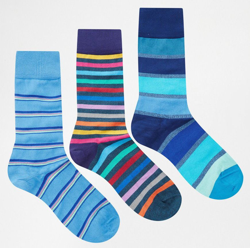 Paul Smith socks in 3 pack availble at ASOS