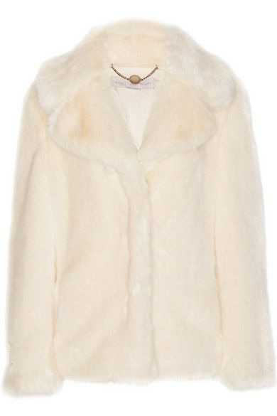 Stella McCartney cream faux fur coat available at NET-A-PORTER