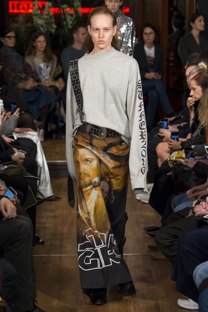 Her Vetements Spring 2016 star wars printed mxi skirt is available at MYTHERESA.com