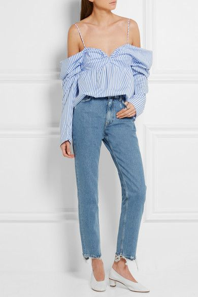 J.W.Anderson off-the-shoulder striped cotton poplin top available at NET-A-PORTER