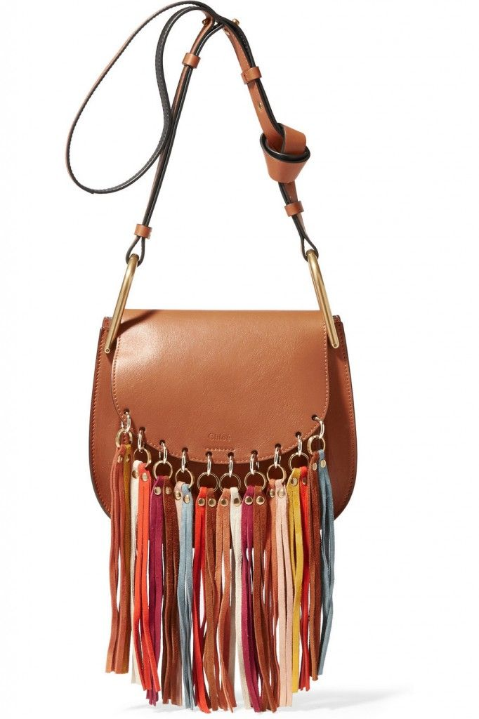 Veronika's Hudson tan leather multicolored suede tassels shoulder bag available at NET-A-PORTER