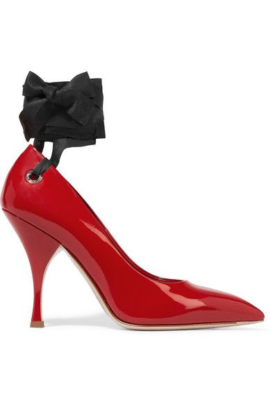 * Miu Miu red patent-leather pumps available t NET-A-PORTER